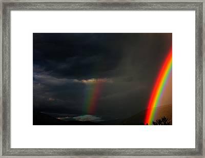 Rainbow Curtain Framed Print by Mavis Reid Nugent