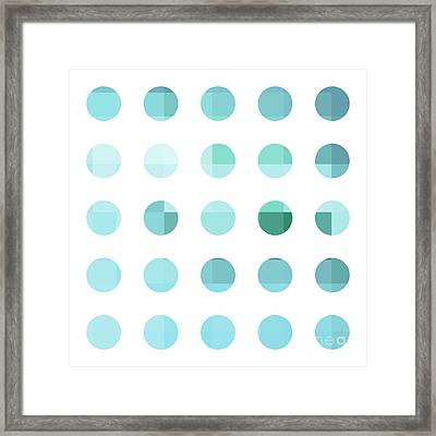 Rainbow Dots Aqua  Framed Print by Pixel Chimp