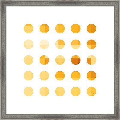 Rainbow Dots Orange Framed Print by Pixel Chimp