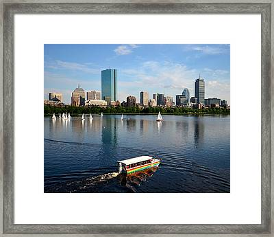 Rainbow Duck Boat On The Charles Framed Print