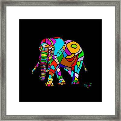 Rainbow Elephant Framed Print by Anthony Mwangi
