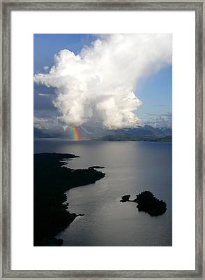 Rainbow Emerges From Thundercloud As Framed Print by Chip Porter