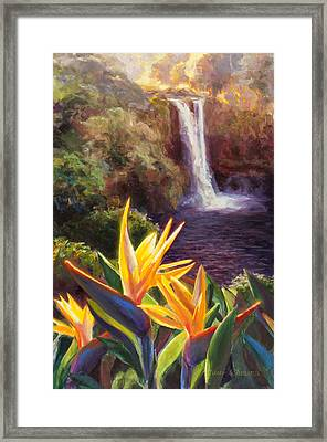 Rainbow Falls Big Island Hawaii Waterfall  Framed Print