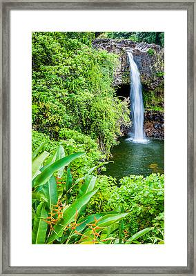 Rainbow Falls - Hawaii Waterfall Photograph Framed Print by Duane Miller