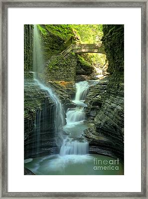 Rainbow Falls Into The Canyon Framed Print by Adam Jewell