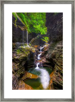 Rainbow Falls Of Watkins Glen Framed Print by Mark Papke