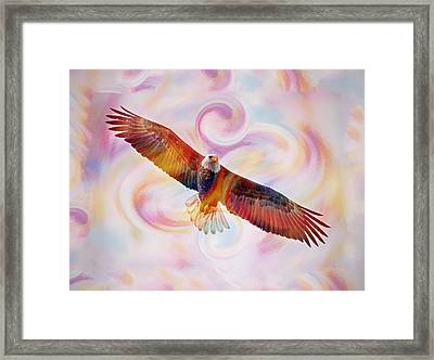 Rainbow Flying Eagle Watercolor Painting Framed Print