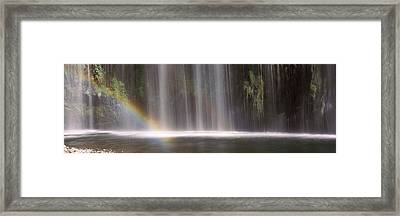 Rainbow Formed In Front Of Waterfall Framed Print by Panoramic Images