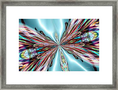 Rainbow Glass Butterfly On Blue Satin Framed Print by Maria Urso