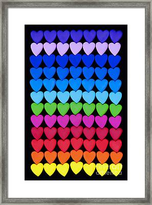 Rainbow Hearts Framed Print by Tim Gainey