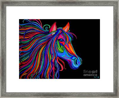 Rainbow Horse Head Framed Print