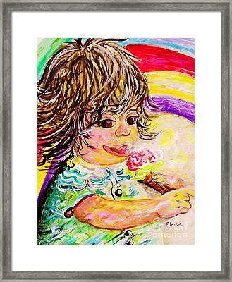 Rainbow Ice Cream Framed Print by Eloise Schneider