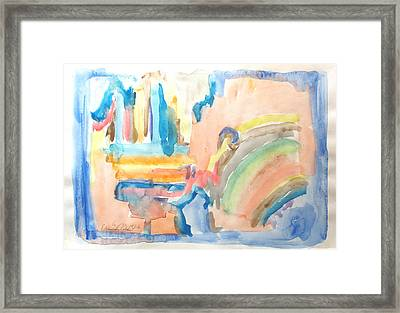 Framed Print featuring the painting Rainbow In A Box by Esther Newman-Cohen