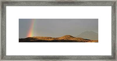 Rainbow In Early Morning Over The Hills Framed Print