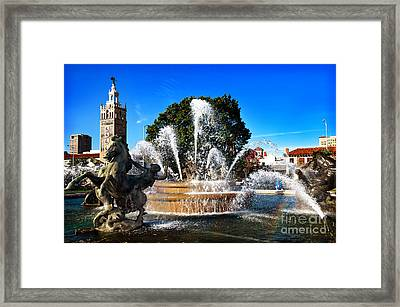 Rainbow In The Jc Nichols Memorial Fountain Framed Print