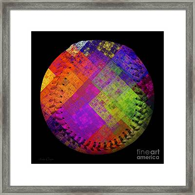 Rainbow Infusion Baseball Square Framed Print by Andee Design