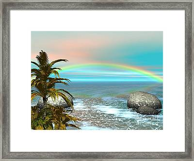 Framed Print featuring the digital art Rainbow by Jacqueline Lloyd
