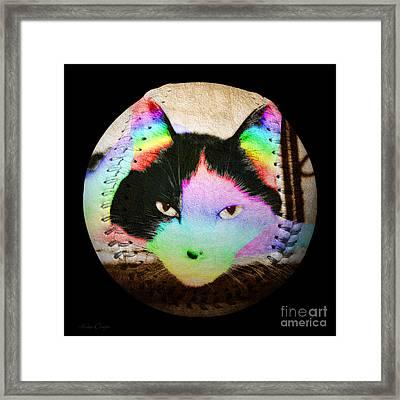 Rainbow Kitty Baseball Square Framed Print