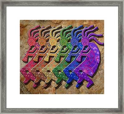 Rainbow Kokopellis Framed Print