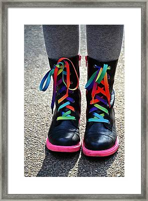 Rainbow Laces Framed Print