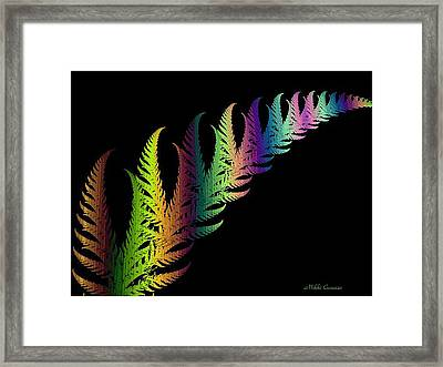 Rainbow Leaves Fractals Framed Print by Mikki Cucuzzo