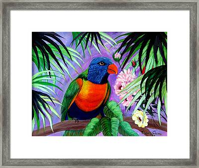 Framed Print featuring the painting Rainbow Lorikeets. by Fram Cama