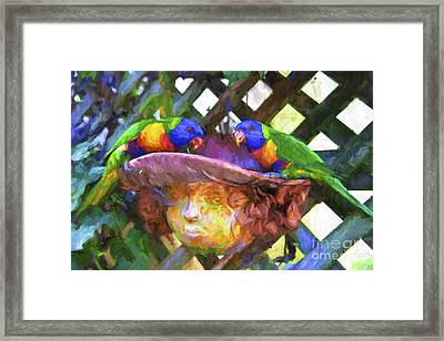Rainbow Lorikeets In Plant Pot Framed Print by Avalon Fine Art Photography