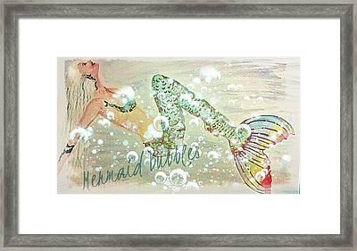 Rainbow Mermaid Bubbles  Framed Print