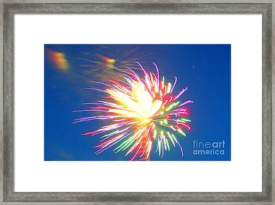 Rainbow Of Color Abstract Fireworks Framed Print by Judy Palkimas