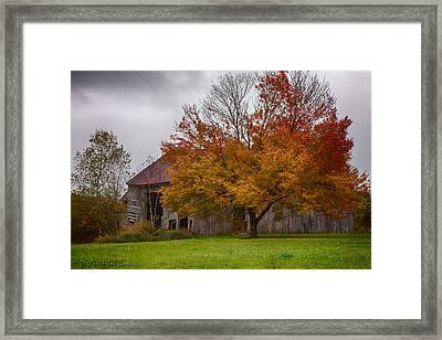 Framed Print featuring the photograph Rainbow Of Color In Front Of Nh Barn by Jeff Folger
