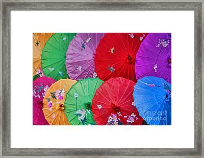 Rainbow Of Parasols   Framed Print