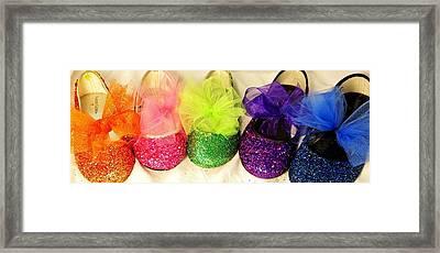 Rainbow Of Wedding Shoes Framed Print