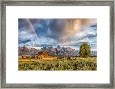 Rainbow On Moulton Barn - Horizontal - Grand Teton National Park Framed Print by Andres Leon