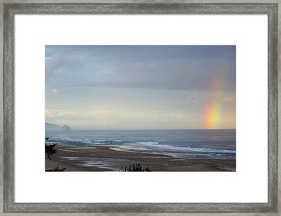 Rainbow On My Beautiful Beach Framed Print