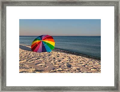 Rainbow On The Beach Framed Print
