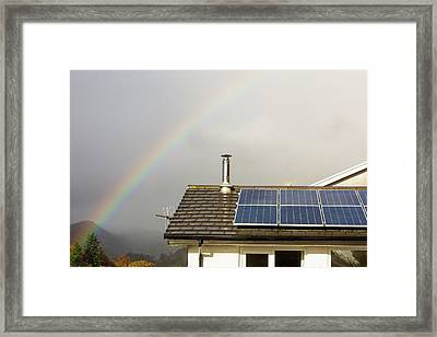 Rainbow Over A House With Solar Panels Framed Print by Ashley Cooper