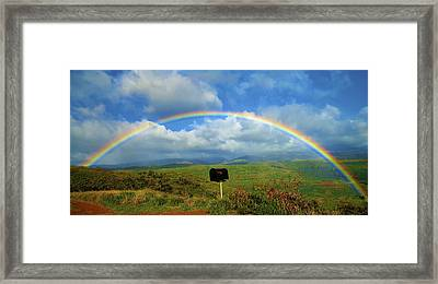 Rainbow Over A Mailbox Framed Print by Kicka Witte