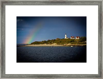 Rainbow Over Baker Island Light Framed Print by Jeff Folger