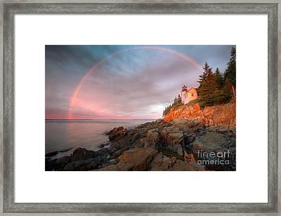 Rainbow Over Bass Harbor Head Light I Framed Print