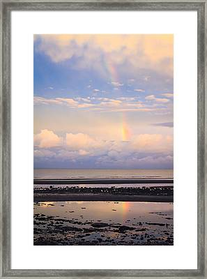 Framed Print featuring the photograph Rainbow Over Bramble Bay by Peta Thames