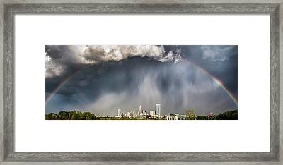 Rainbow Over Charlotte Framed Print by Chris Austin