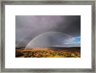 Rainbow Over Desert Framed Print by Michael J Bauer