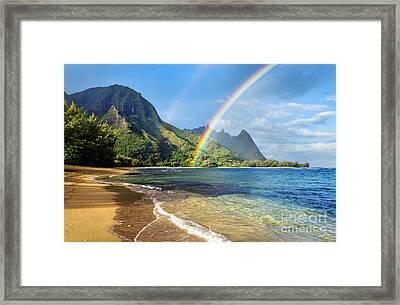 Rainbow Over Haena Beach Framed Print by M Swiet Productions
