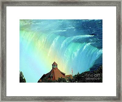 Framed Print featuring the photograph Rainbow Over Horseshoe Falls by Janette Boyd
