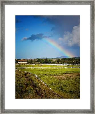 Rainbow Over Kauai Framed Print by Vicki Jauron