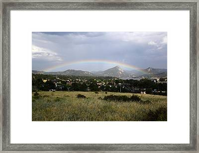 Rainbow Over Lake Estes Framed Print