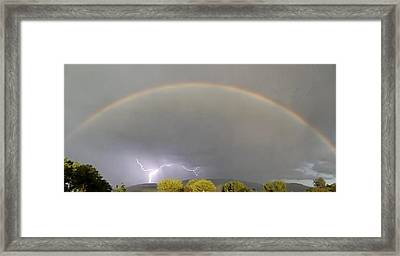 Rainbow Over Lightening Framed Print