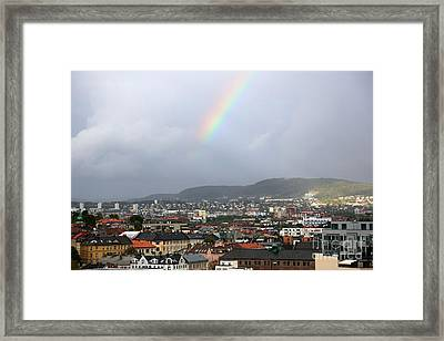 Rainbow Over Oslo Framed Print by Carol Groenen