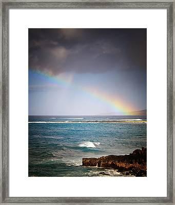 Rainbow Over Po'ipu Framed Print by Vicki Jauron