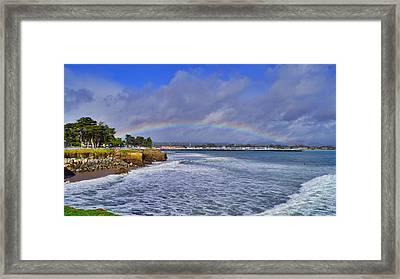 Rainbow Over Santa Cruz Framed Print by Randy Straka